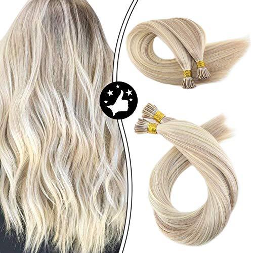 Moresoo 24 Zoll 50g Glatt I Tip Fusion Extensions Echthaar Haarverlängerungen Gesträhnt Ashblond #18 Highlights mit Bleichen Blond #613 Echthaar Pre Bondings Real Remy Keratin Hair 1g/s