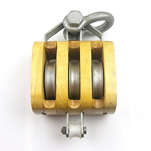 Load Rated - Triple Sheave Rigging Wood Block w/Shackle (4
