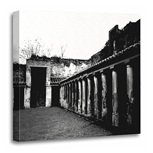 "TORASS Canvas Wall Art Print Italy Pompeii Black White Europe Photography Artwork for Home Decor 20"" x 20"""