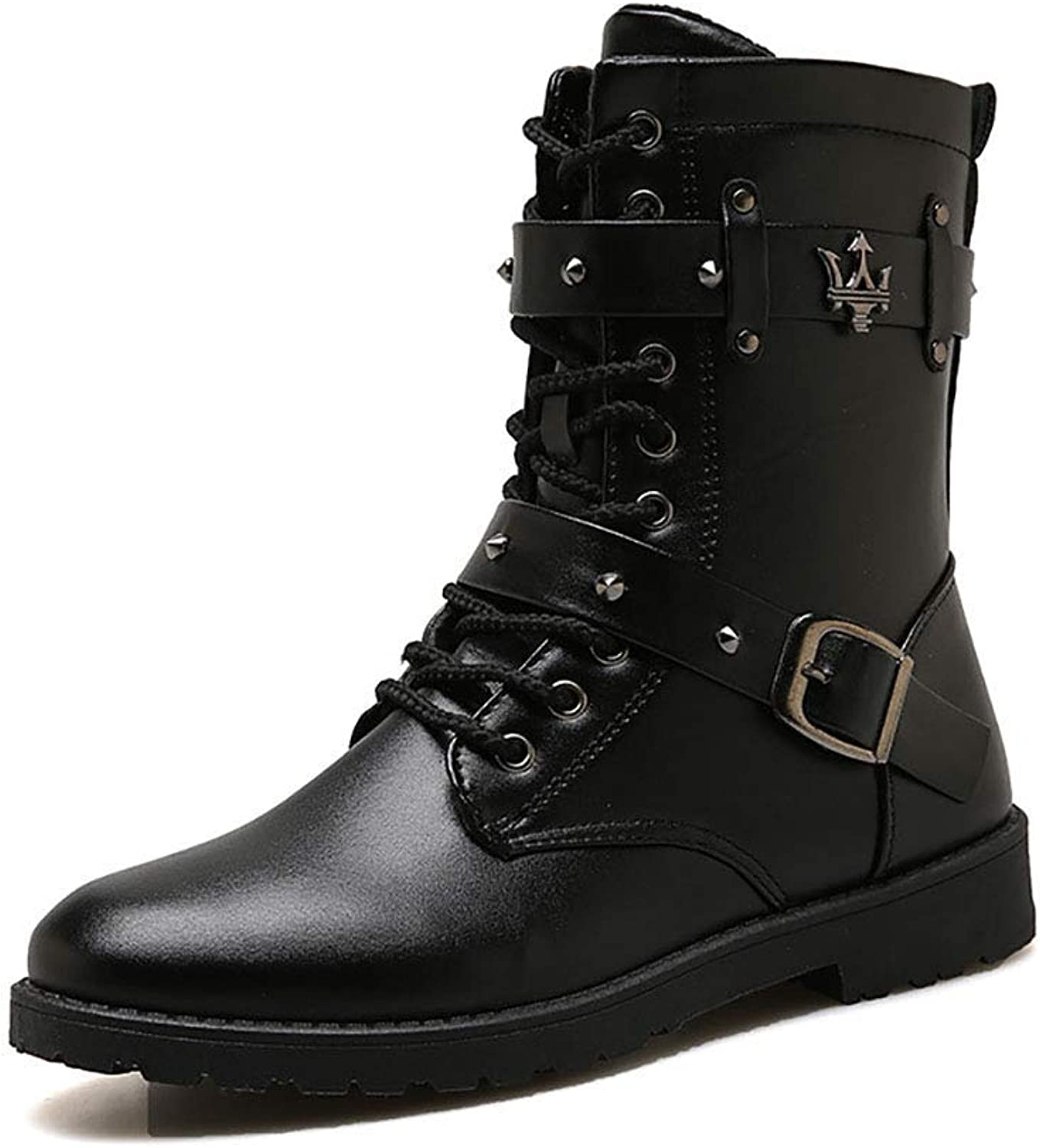 ZHRUI Men's Casual Martin Boots High to Help Leather Waterproof Boots High Tube Youth Locomotive shoes (color   Black, Size   EU42.5 UK8)