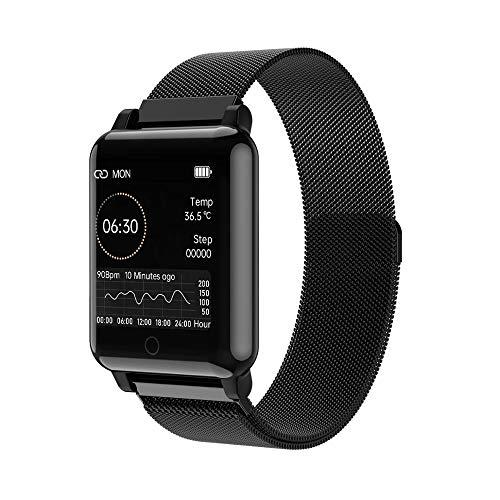 Relógio Smartwatch NAMOFO relógio inteligente corpo temprature detecção mensagem push lembrete mulheres esportes fitness smartwatch para ios android apple relógios (Preto-Aço Inoxidável)