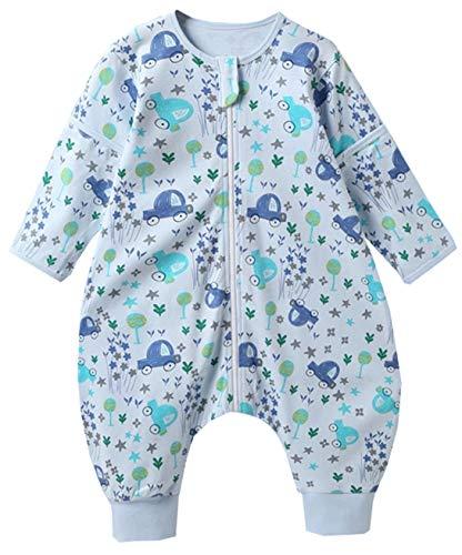 Chilsuessy Baby Schlafsack mit Füße 1 Tog Ganzjahres Schlafsack mit abnehmbaren Ärmeln für Säugling Kinder 1-4 Jahre alt 100% Baumwolle Sommer Schlafsäcke, Blau Auto, M/Baby Höhe 85-95cm