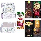 Caja pack de chocolate orgánico BIO para regalar, GREEN PHARMA SELECTION - Torra Organic con Almendras, Tierra Madre 70% Cacao, Torras organic, Suchard BIO al Toque de Sal y Tierra Madre Naranja,