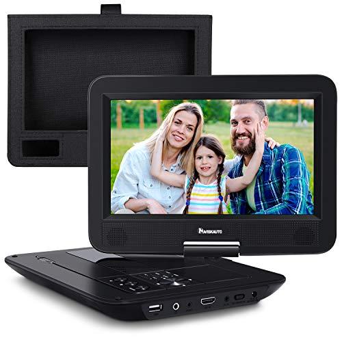 """NAVISKAUTO 10,1"""" Tragbarer DVD Player 1024 * 600 HDMI Eingang Portabler DVD Player für Kinder 270° Drehbarer mit Halterung Memory USB AV Out/In 12"""