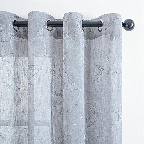 Elegante lirio cortinas transparentes flores de tul para la vida de la cocina, cortinas de tul para decoración del hogar, tratamiento de ventana, color gris, 100 x 130, Francia, bolsillo D