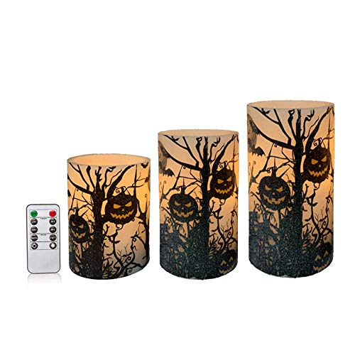 Ironwood Banana Halloween Flameless Candles with Remote Control, Real Wax LED Pillar Candles with Black Branches/Witch Decals, Fall Halloween Festival Party Decoration (Black Branches Decal)