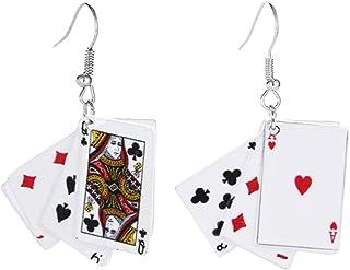 LPOQW Game Card Vorm Dangle Oorbellen voor Vrouwen Geometrische Grappige Oorbellen Oorhaak Vrouwen Datum Party Sieraden Ac...