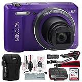 Minolta MN12Z 20 Mega Pixels HD Digital Camera w/12x Optical Zoom (Purple) + 32BG + Cases + Strap Deluxe Accessories Bundle