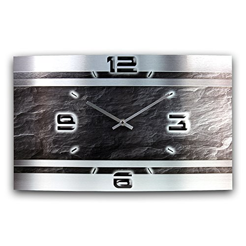 Schiefer Abstrakt Metallic Designer Funk Wanduhr Funkuhr modernes Design * Made in Germany* WAG307FL * leise kein Ticken