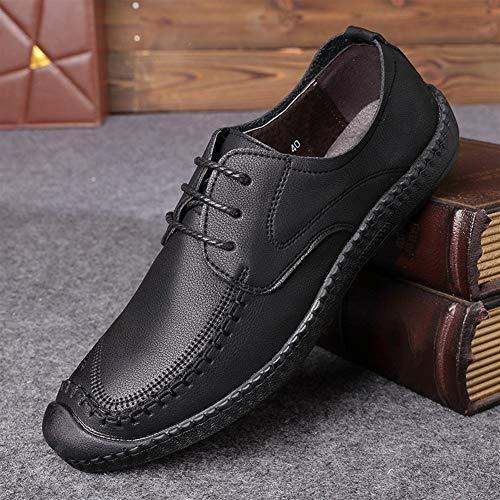 Best-choise Zapatos Oxfords for Hombre Zapatos Casuales Cierre Antideslizante en Cuero Genuino Ligero Acogedor Sutura Hecha a Mano Transpirable Antideslizante Llamativo