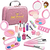 Pickwoo Kids Makeup Set for Girls Real Washable Play Makeup Sets for Little Girls,Non-Toxic Natural Pollen Cosmetics Kit with Cosmetic Bag,Gift Halloween Christmas Birthday Party