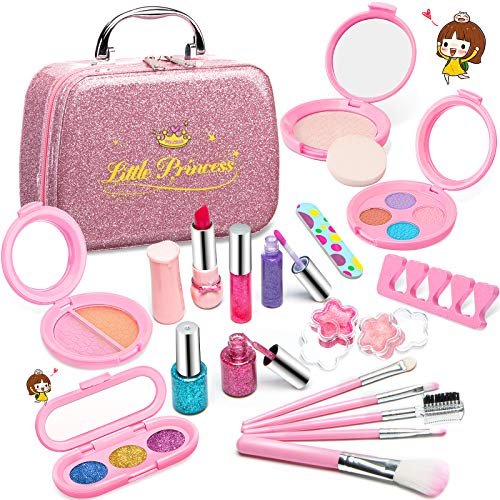 Pickwoo Kids Makeup Set for Girls Real Washable Makeup Cosmetics Kit Toy Set with Glitter Cosmetic Box , Cosmetic Beauty Set for Kids Ideal Make Up Gift for Princess, Birthday, Christmas, Party