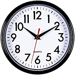 Bernhard Products - Black Wall Clock 8 Silent Non-Ticking Quality Quartz Battery Operated Small Clock for Home/Office/Kitchen/Classroom/Bedroom Easy to Read (Black, 1 Clock)