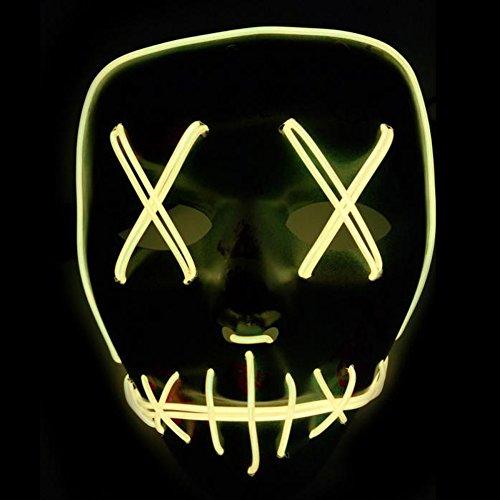 Xdffy Halloween Máscara LED Ligero Gracioso Máscaras Estupendo Festival Cosplay Disfraz Suministros Fiesta Máscaras Brillan en la Oscuridad (Amarillo)