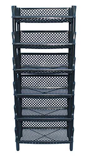ARTECSIS Korbregal aus Kunststoff stapel-/erweiterbares Stecksystem als Stapelregal, 6 Regalelemente in anthrazit