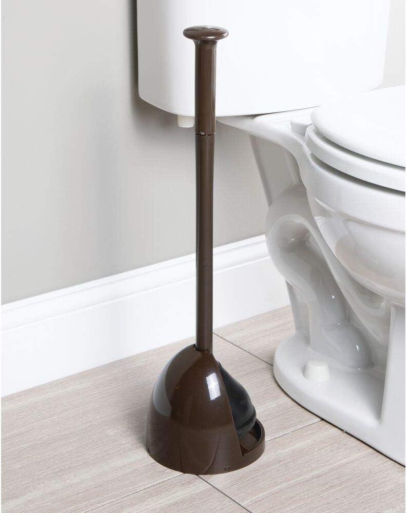 diskretes freistehendes Badezimmer-Aufbewahrungsregal mit Sockel elegantes robust dunkelbraun kompaktes modernes Design mDesign WC-Sch/üssel-Set aus Kunststoff mit Abtropfschale