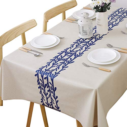 TruDelve Heavy Duty Vinyl Table Cloth for Kitchen Dining Table Wipeable PVC Tablecloth for Rectangle Table(54'x72',Branch)