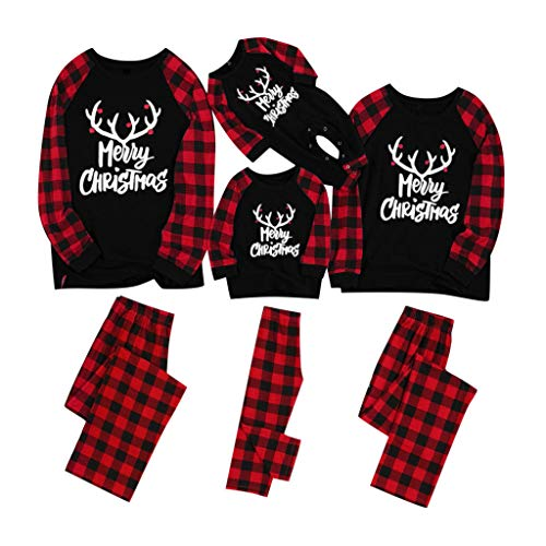 Fenverk Weihnachten Familie Outfit Set Matching Lange Ärmel Bluse + Plaid Lange Hosen Pyjama Set Xmas Schlafanzüge Nachtwäsche Feiertag Suit für Dad Mom Kinder Mädchen Jungen (A,Kind : 8~9 Jahre)