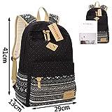 Neuleben Schulrucksack + Kühltasche + Mäppchen Schultaschen 3 Set aus Canvas für Jungen Mädchen Schule Freizeit (Schwarz) - 5