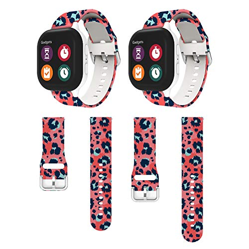 Kids Band Compatible for Gizmo Watch Band, 20mm Repalcement Strap for Gizmo Watch Band Replacement, Red Leopard - 2Packs