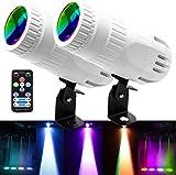 Latta Alvor 4 in 1 Small Spotlight Mini RGBW LED Beam Spot Lights Stage Effect Lighting LED Beam Pinspot Light for Mirror Ball Club Party Bar DJ Events (White)