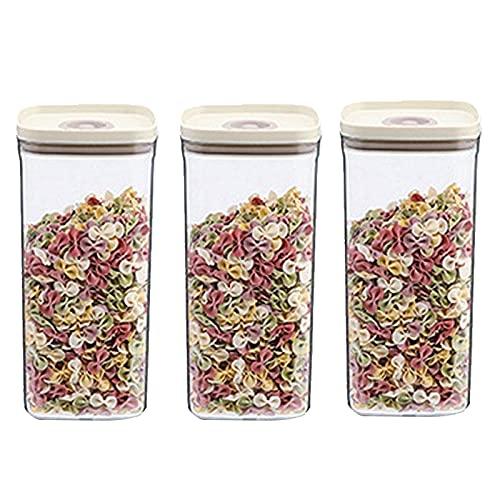 3 unids almacenamiento de cereales contenedor caja de almacenamiento de alimentos comida hermética caja fresca, almacenamiento de alimentos Contenedores con tapas superpuestas Jarra sellada transparen