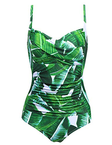 Ekouaer One Piece Swimsuits Women's Tummy Control Swimwear Bathing Suit (White Leaves,Medium)