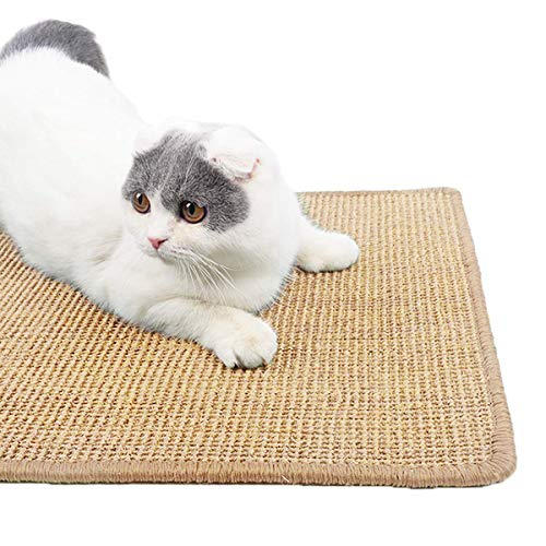 Adorrable Durable Cat Scratching MatNatural Sisal Cat Training Scratch PadAntiSlip Cat Scratch Rug Furniture Protecter Medium236quot 157quot 12quot KAK