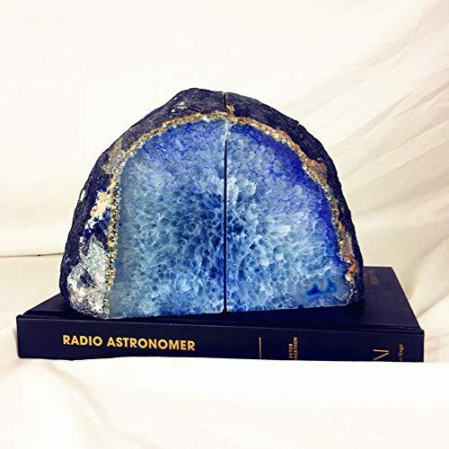OYBB Adornos Estatuas Sujetalibros De Ágata En Azul H