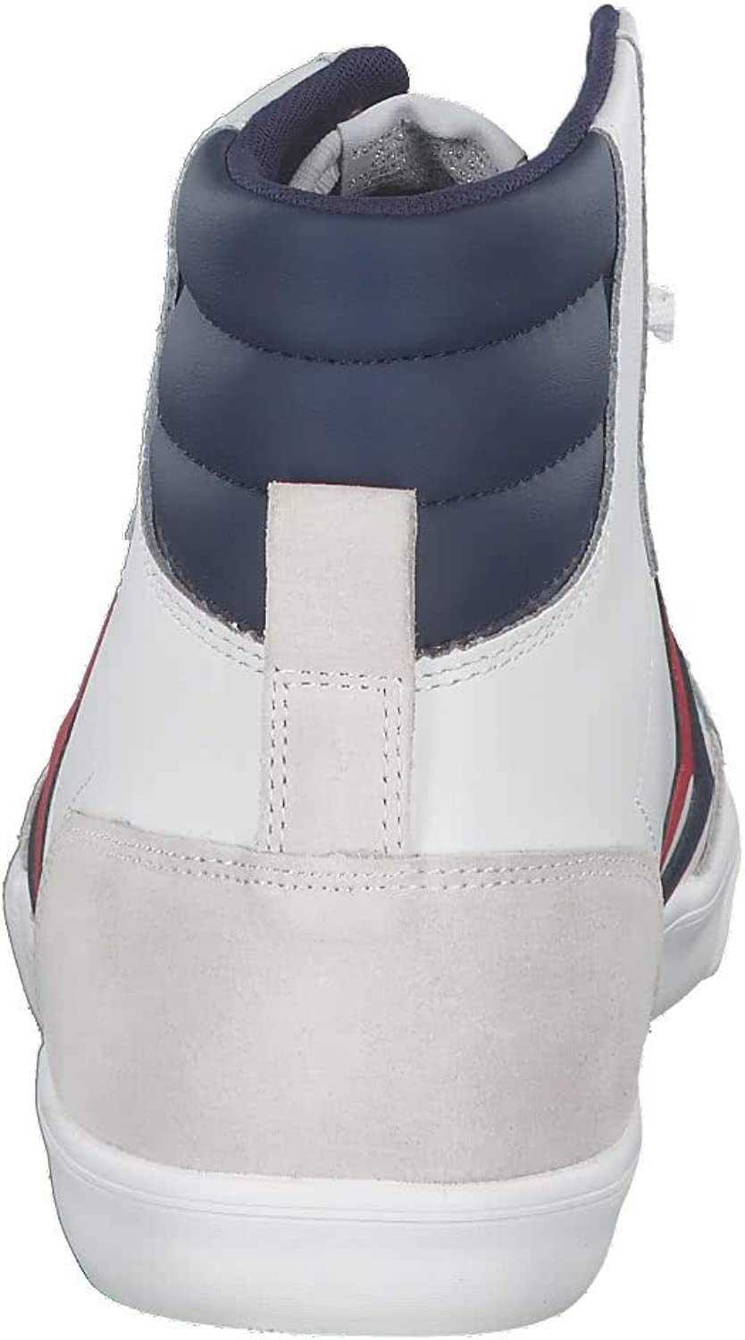 hummel Slimmer Stadil HIGH Leather Trainers Men White/Blue/Red Hi top Trainers White Blue Atoll Silver