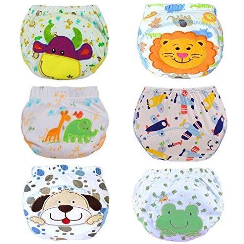 Haimoburg 6er Pack Wasserdicht Baby Lernwindel Trainerhosen Unterwäsche Windeln Windelhose zum Toilettentraining Töpfchentraining, Mehrfarbig, Medium (90)