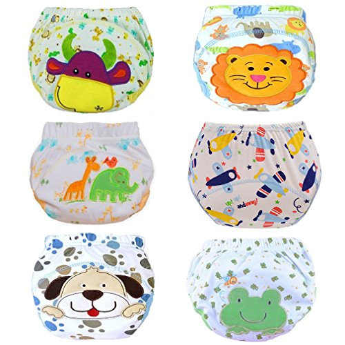 HaimoBurg Lot de 6 Culottes d'apprentissage Imperméable pour Bébé - Multicolores - 90 (1-2 ans)