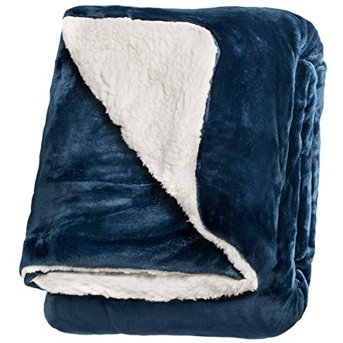 """Life Comfort Microfiber Plush Polyester 60""""x70"""" Large All Season Blanket for Bed or Couch Ultimate Sherpa Throw, Blue"""