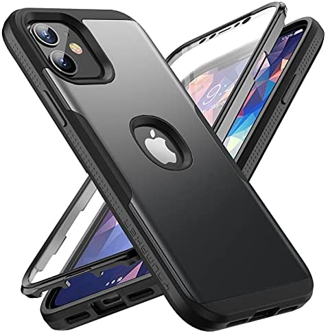YOUMAKER Compatible with iPhone 12 & iPhone 12 Pro Case, Shockproof Cases with Built-in Screen Protector Full Body Protective Heavy Duty Cover for iPhone 12/ iPhone 12 Pro 6.1 inch, Black