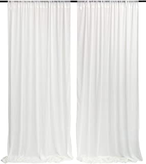 White Wedding Party Backdrop Curtain Drape 9.8ft by 8ft Stage Background Decor Studio Photography Backdrop