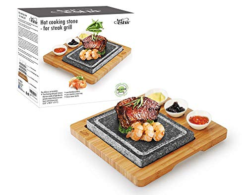 Artestia Double Cooking Stones in One Sizzling Hot Stone Set, Deluxe Tabletop Barbecue/BBQ/Hibachi/Steak Grill (One Deluxe Set with Two Stones)