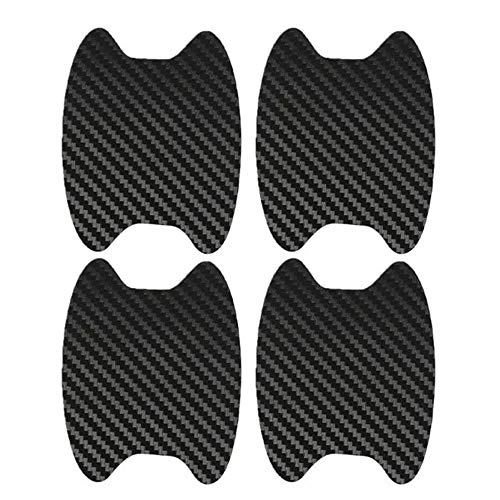 4Pcs Car Door Handle Cup Protector, Carbon Fiber Paint Scratch Protective Guard, Side Sticker, Prevent Paint Chipping, Removable - Without Sticky Residue, Easy to Install, for All Vehicles (Black)