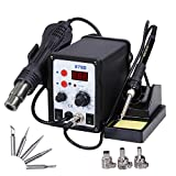 Yescom 2 in 1 Rework Soldering Station 878D Welder Iron Hot Air Gun with 5 Tips and 3 Nozzles 110V