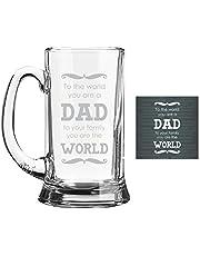 Yaya Cafe Dad World Icon Beer Mug for Dad with Coaster