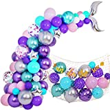 145 Pieces Mermaid Party Balloon Garland Kit, Mermaid Tail Balloon Garland Plush Fish Net Under The Sea Banner for Girls Mermaid Ocean Birthday Baby Shower Party Supplies Decorations