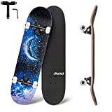 Junli Standard Skateboards 32 Inch Complete Skateboard for Kids and Adults 7 Layer Canadian Maple Double Kick Concave Skate Board and Tricks Skateboards for Teens(Moon)
