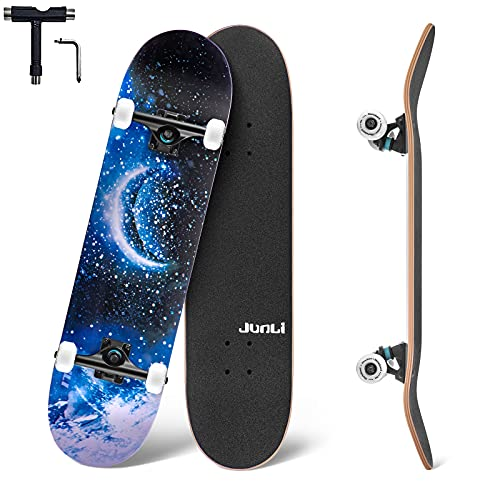 Junli Standard Skateboards 32 Inch Complete Skateboard for Kids and Adults 7 Layer Canadian Maple Double Kick Concave Skate Board and Tricks...
