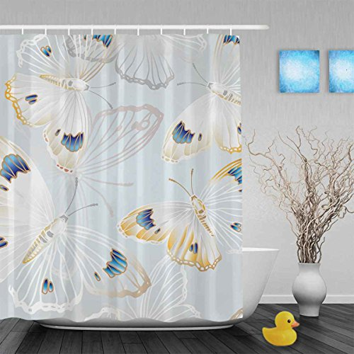 """GUGLILI White and Yellow Butterfly Blessing Fabric Shower Curtain for Bathroom Art Print Design, 100% Waterproof Mildew Ployester Curtain, Free Bathroom Set with Hooks,60""""X72"""""""