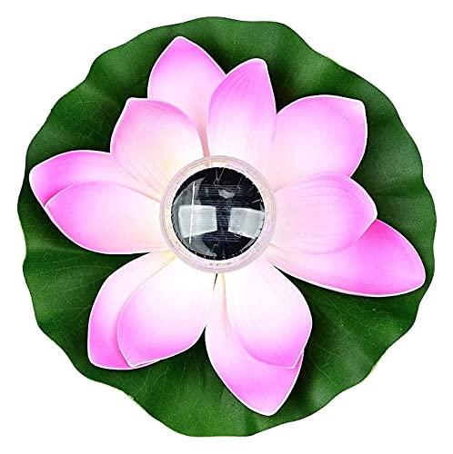 Solarlicht Solar LED Powered Lotus Lampe, Solar Floating Lotus Blume Laterne 7-Farben wasserdicht, für Garten, Garten, Pool, Brunnen oder Aquarien (Color : Pink)
