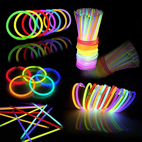 144 varillas brillantes a granel para regalos de fiesta Glowstick, colorido neón brilla oscuridad collar suministros pulsera cumpleaños Navidad Halloween fiesta discoteca suministros