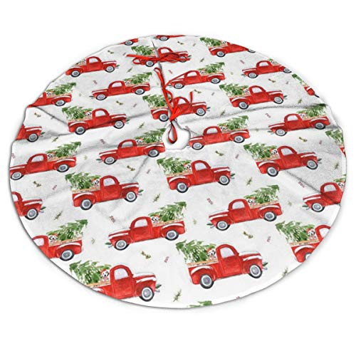 MSGUIDE Christmas Tree Skirt 48 Inch Trucks Dog Flower Xmas Holiday Party Supplies Large Tree Mat Decor for Indoor Outdoor Home Ornaments