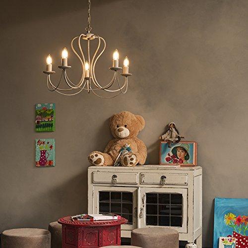 QAZQA Klassisch/Antik/Landhaus/Vintage/Rustikal Klassischer Kronleuchter/Chandelier taupe - Como 5-flammig/Innenbeleuchtung/Wohnzimmerlampe/Schlafzimmer/Küche Metall Rund LED geeignet