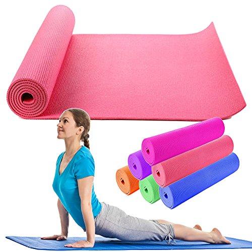 OUTLETISSIMO Tappetino Yoga Tappeto Rosa Pilates MATERASSINO Fitness Aerobica 173X61 Soft
