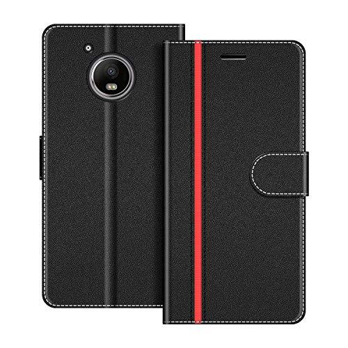 COODIO Funda Motorola Moto G5 Plus con Tapa, Funda Movil Motorola Moto G5 Plus, Funda Libro Motorola Moto G5 Plus Carcasa Magnético Funda para Motorola Moto G5 Plus, Negro/Rojo