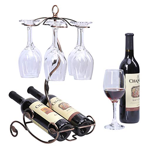 Freestanding Wine Bottle and Glass Holder